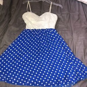 White & Blue Polka dot dress